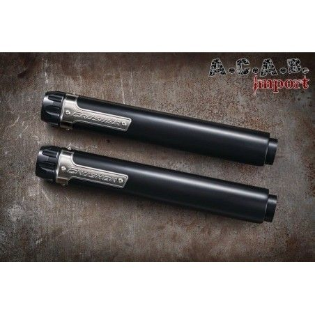 Silencieux Crusher Maverick 2.5'' Slip-Ons noir embout noir Softail FL FX 608