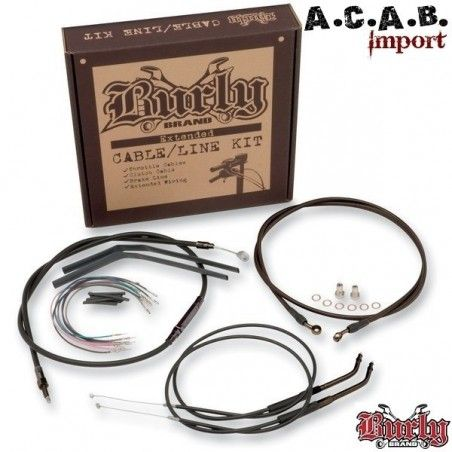 KIT EXTENSION CABLE NOIR BURLY POUR APE + 16'' Softail FXST 2000 à 2006