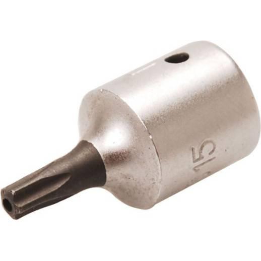 """Douille à embouts 6,3 mm (1/4"""") profil TS (pour Torx Plus) avec perçage TS15"""