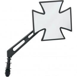 Rétroviseur universel droit ou gauche noir croix de malte custom moto