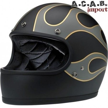 Casque Biltwell Gringo LE Flames Black Grey