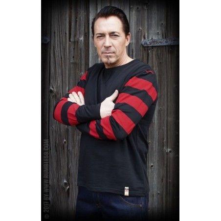 T shirt à manches longues racing noir rouge