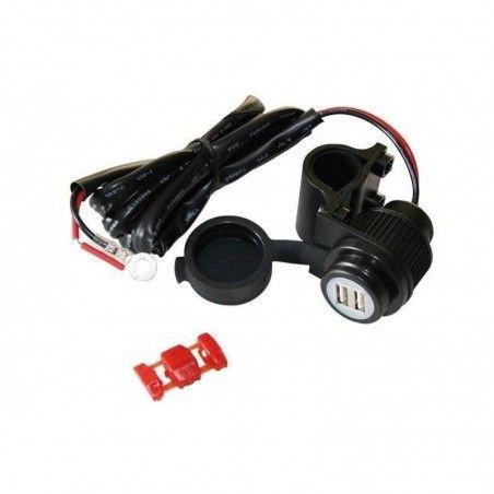 Prise DOUBLE USB fixation sur guidon 22 et 25 mm
