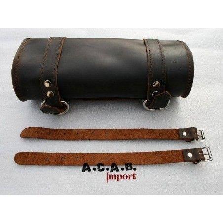 Sacoche à outils La Rosa cuir marron vintage moto trike chopper