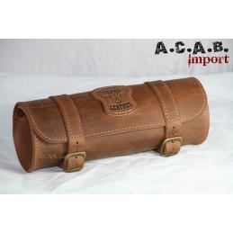 Sacoche à outils Texas Leather cuir marron vintage moto trike chopper