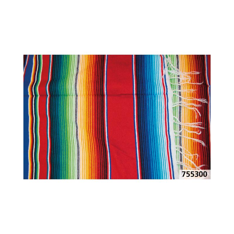 Couverture Mexicaine Serape Cozumel rouge