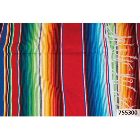 Couverture Mexicaine Serape Cozumel rouge poncho