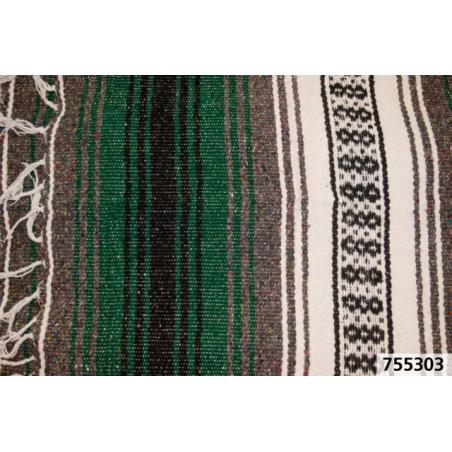 Couverture Mexicaine Serape Veracruz vert et blanc