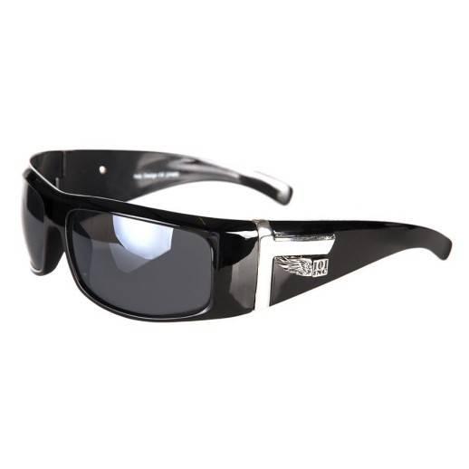 Lunettes de soleil biker monture noire et chrome large
