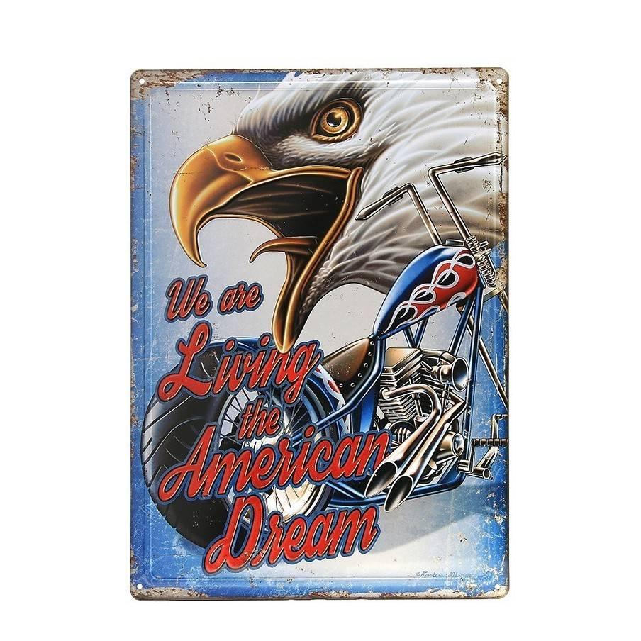 Plaque decorative metal American Dream