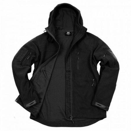 Veste polaire Noire Hexagon 100% polyester avec capuche ajustable