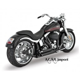 Pots Vance & Hines Shortshots staggered black Softail HD 1987-2011