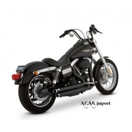 Pots Vance & Hines Bigshots staggered black Harley Dyna 06-2011
