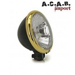 Phare type BATES 5 3/4 noir avec cerclage bronze Optique homologuée TÜV et CE