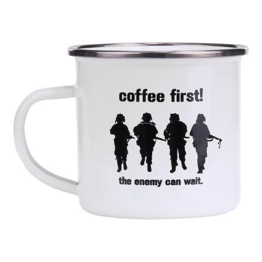 Tasse en émail Coffee First blanche