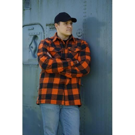 Sur chemise bucheron à carreaux orange et noir