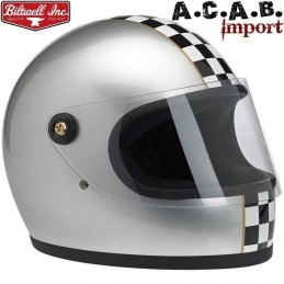 Casque Biltwell Gringo S LE Checker Metallic Silver