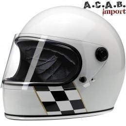 Casque Biltwell Gringo S LE Checker Stripe White