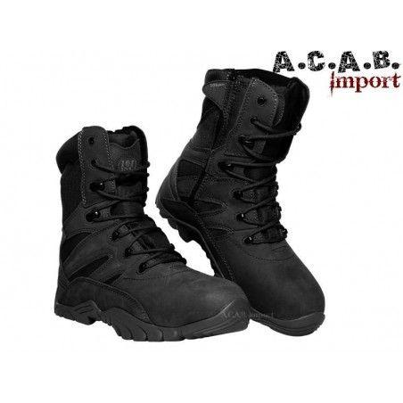 Chaussures tactique noires montante Recon cuir a semelle caoutchouc