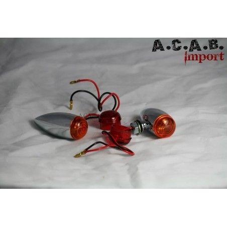 clignotants fusée cabochons rouge et orange chrome lisse moto custom