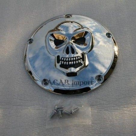Derby Cover Skull chromé 5 trous pour Harley Davidson