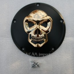 Derby Cover Skull noir et or 5 trous pour Harley Davidson