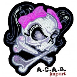 Patch thermocollant brodé pink lethal angel biker rockabilly custom